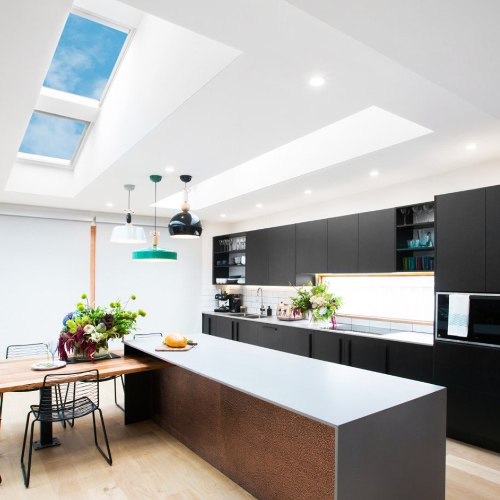 Roof windows for kitchen extensions