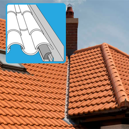 Flashing for interlocking tiles