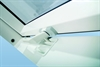 FAKRO white-paint centre pivot roof window in vent position - Sterlingbuild
