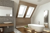 FAKRO white PVC centre pivot roof window in bathroom - Sterlingbuild