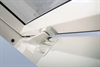 FAKRO white pvc laminated centre pivot roof window on vent - Sterlingbuild