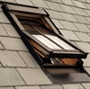 FAKRO conservation roof window in pine installed in slate roof - Sterlingbuild