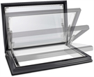 Sunsquare Aero Electric Access Flat Glass Rooflight with Upstand & Early Upstand Delivery 80x80cm