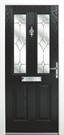 Sterlingbuild Synseal Black uPVC Obscure Composite Front Door Right Hand Opening 96.7x210cm