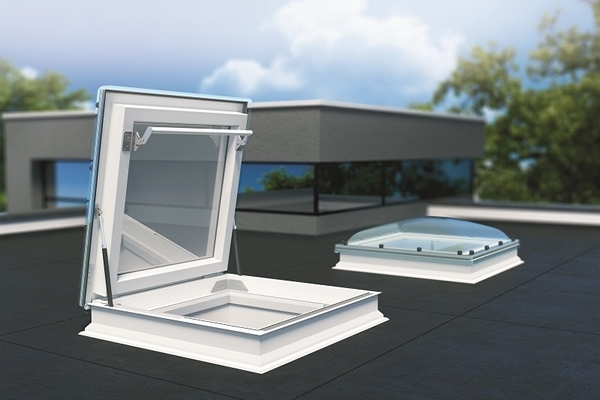 FAKRO DRC-C P2 120120 White PVC Double Glazed Domed Flat Roof Access Window 120x120cm
