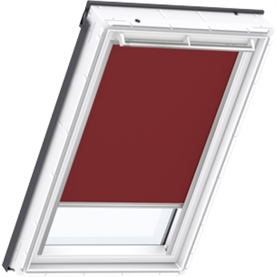 VELUX duo blackout blind in dark red