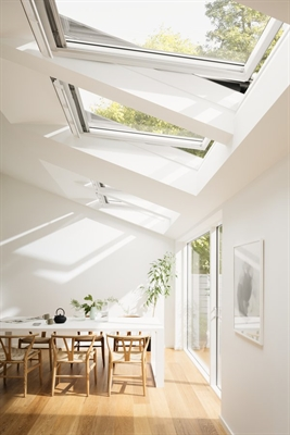 VELUX white roof windows installed in a home extension