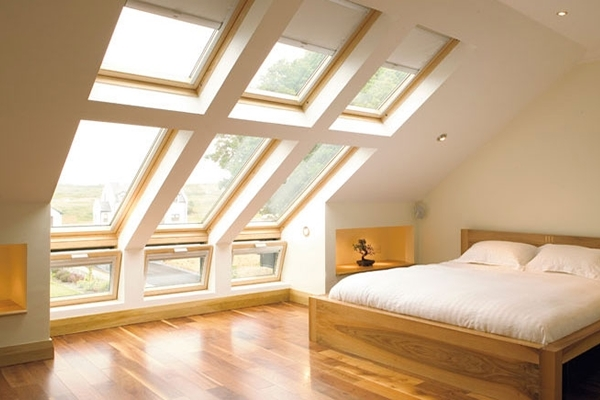 VELUX pine sloping and vertical combination