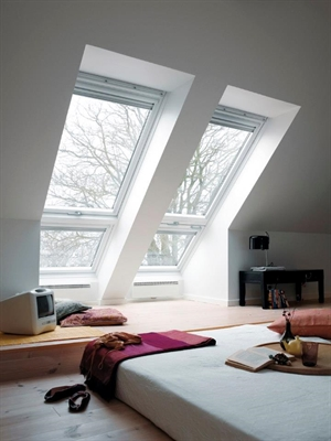 VELUX sloping and fixed white combination