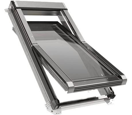 ECO+ White PVC Triple Glazed Centre Pivot Roof Window with Zinc Finish 114x118cm