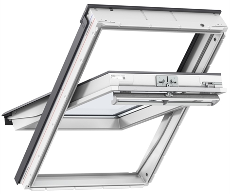 VELUX white laminated centre pivot roof window with enhanced security