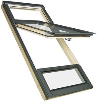 FAKRO FDY-V P2 CC Duet proSky Pine Laminated High Pivot Roof Window 78x235cm