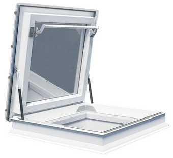 FAKRO DRF DU6 120120 White PVC Triple Glazed Flat Roof Access Window 120x120cm