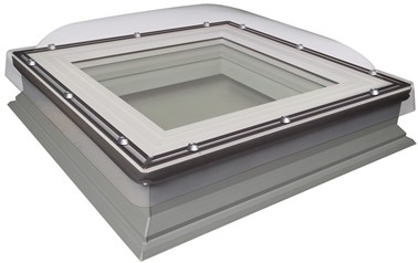 FAKRO DXC-C P2 100100 White PVC Laminated Fixed Domed Flat Roof Window 100x100cm