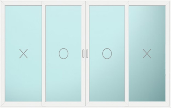 Sterlingbuild White UPVC 4 Pane Double Centre Sliding Patio Doors 280x210cm