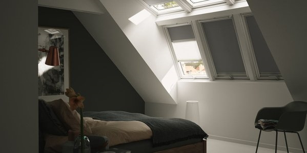 VELUX blackout blinds installed in a bedroom