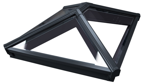 Korniche Glass Lantern Rooflight with Sunshade Blue Tint & Black External/Black Internal 100x350cm