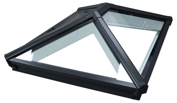 Korniche Glass Lantern Rooflight with Sunshade Blue Tint & Black External/White Internal 150x400cm