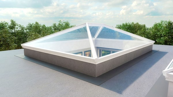 Korniche Glass Lantern Rooflight with Ambi Neutral Tint & Grey/White 150x150cm