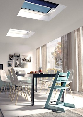 ECO+ electric rooflight with blind in dining room