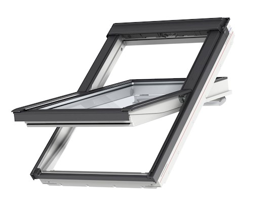 VELUX GGU 0034 White PU Obscure Centre Pivot outside open