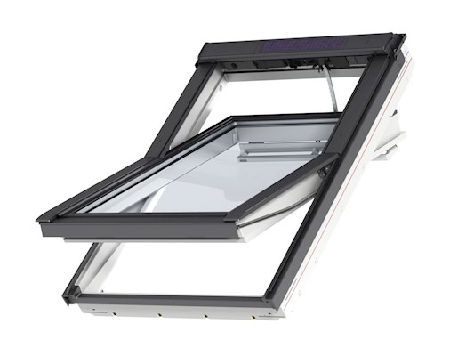 VELUX INTEGRA Solar white centre pivot outside open