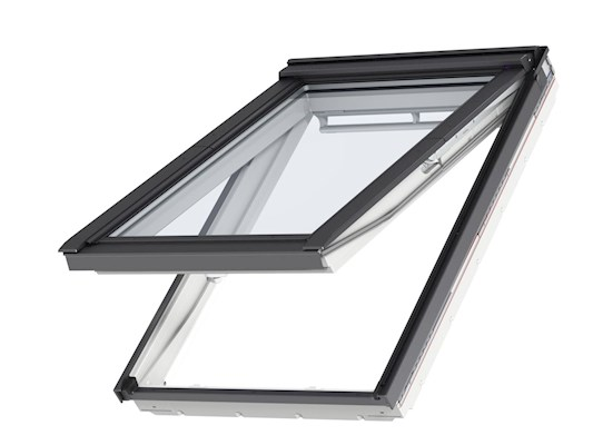 VELUX GPU White top hung outside open