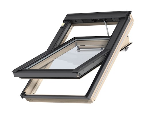 VELUX INTEGRA Pine Solar centre pivot open outside