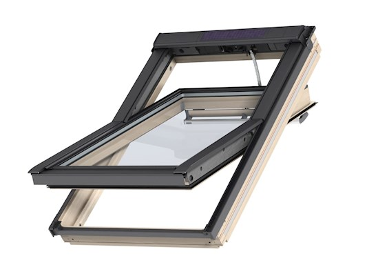 VELUX GGL Solar pine centre pivot outside open