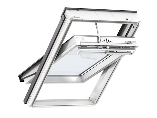 VELUX INTEGRA GGU Solar white centre pivot inside open