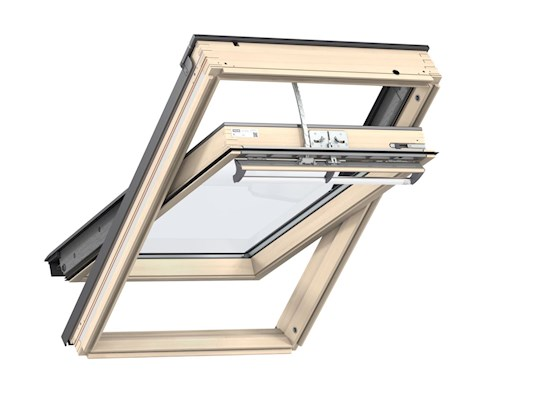 VELUX INTEGRA GGL Pine electric centre pivot inside open