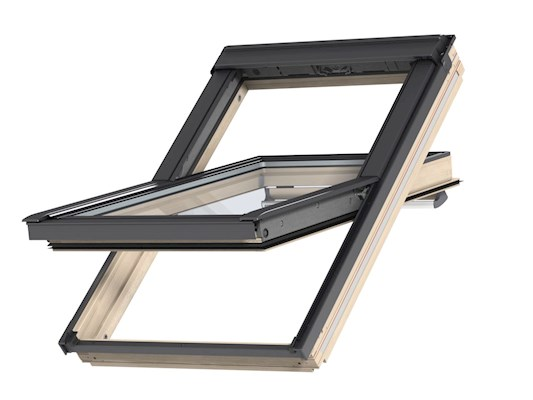 VELUX GGL Pine centre pivot outside open