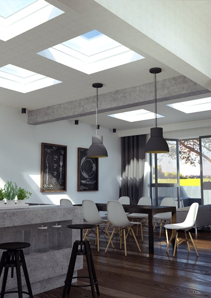 eco+ flat glass rooflights installed in dining room