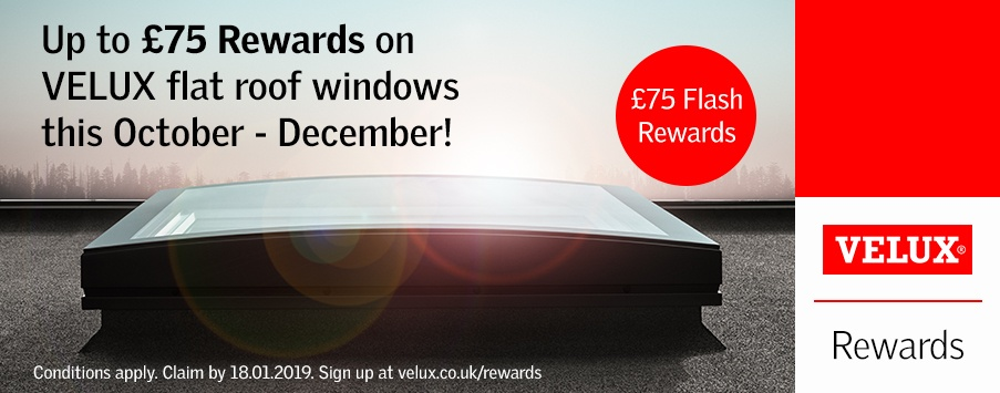 VELUX £72 rewards on flat roof windows this November and December 2018