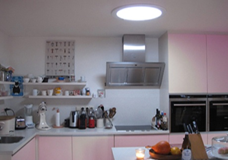large sun tunnel installed in kitchen area