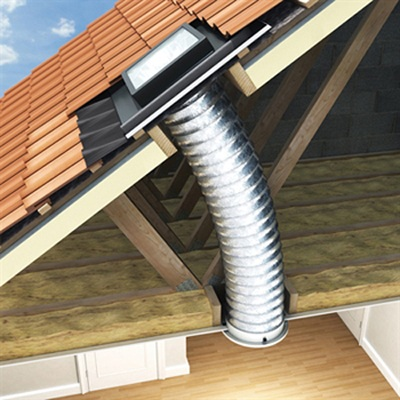 flexible tube of a pitched roof sun tunnel