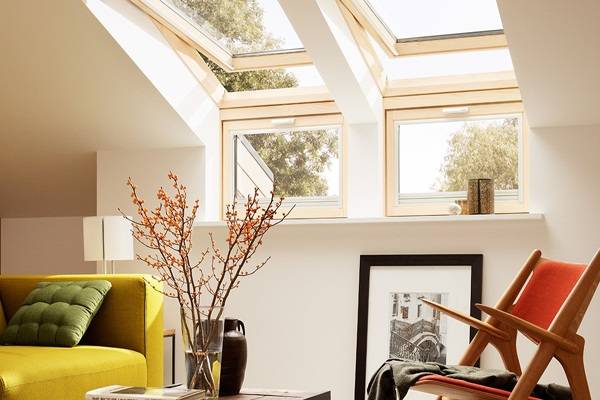 pine roof windows in living room