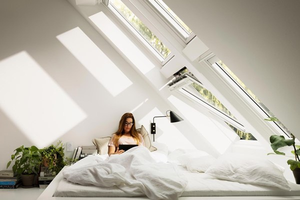velux white roof windows in combination