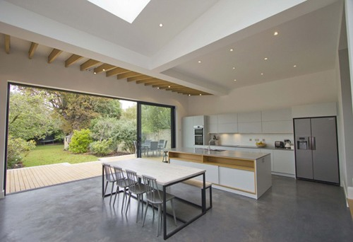 signature flat glass rooflights installed in dining room