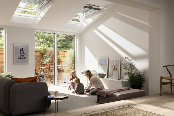 white velux windows above head height