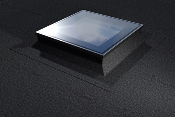 ECO+ fixed flat glass rooflight 45x85cm black exterior finish