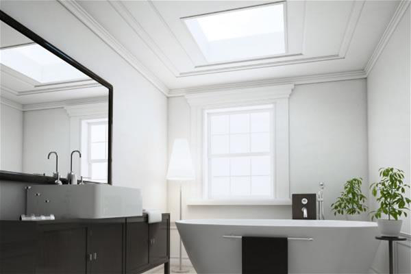 ECO+ fixed flat glass rooflight 45x85cm for en-suite bathroom extension