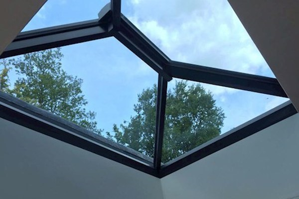 close up of grey framed roof lantern from Korniche