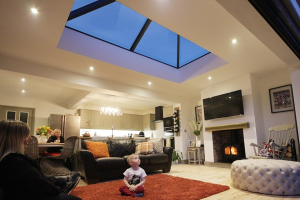 Korniche roof lantern installed in living room