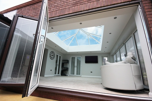 korniche roof lantern installed with bifold doors