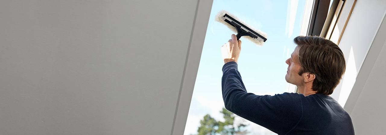 Easy cleaning of your roof window can be achieved when in safety position