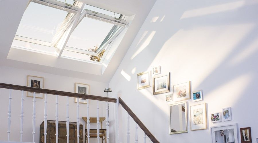 Velux white roof windows in situ above staircase