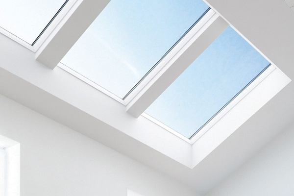 Keylite white roof windows installed in ceiling