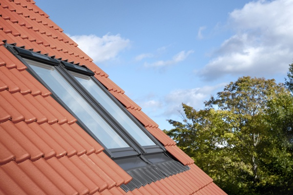 double installation of VELUX solar windows on interlocking tiles
