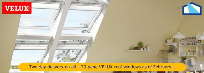 2 delivery on all VELUX --70 pane skylights